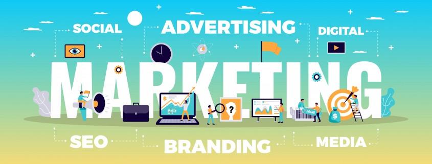 Digital marketing concept with online advertising and media symbols flat vector illustration